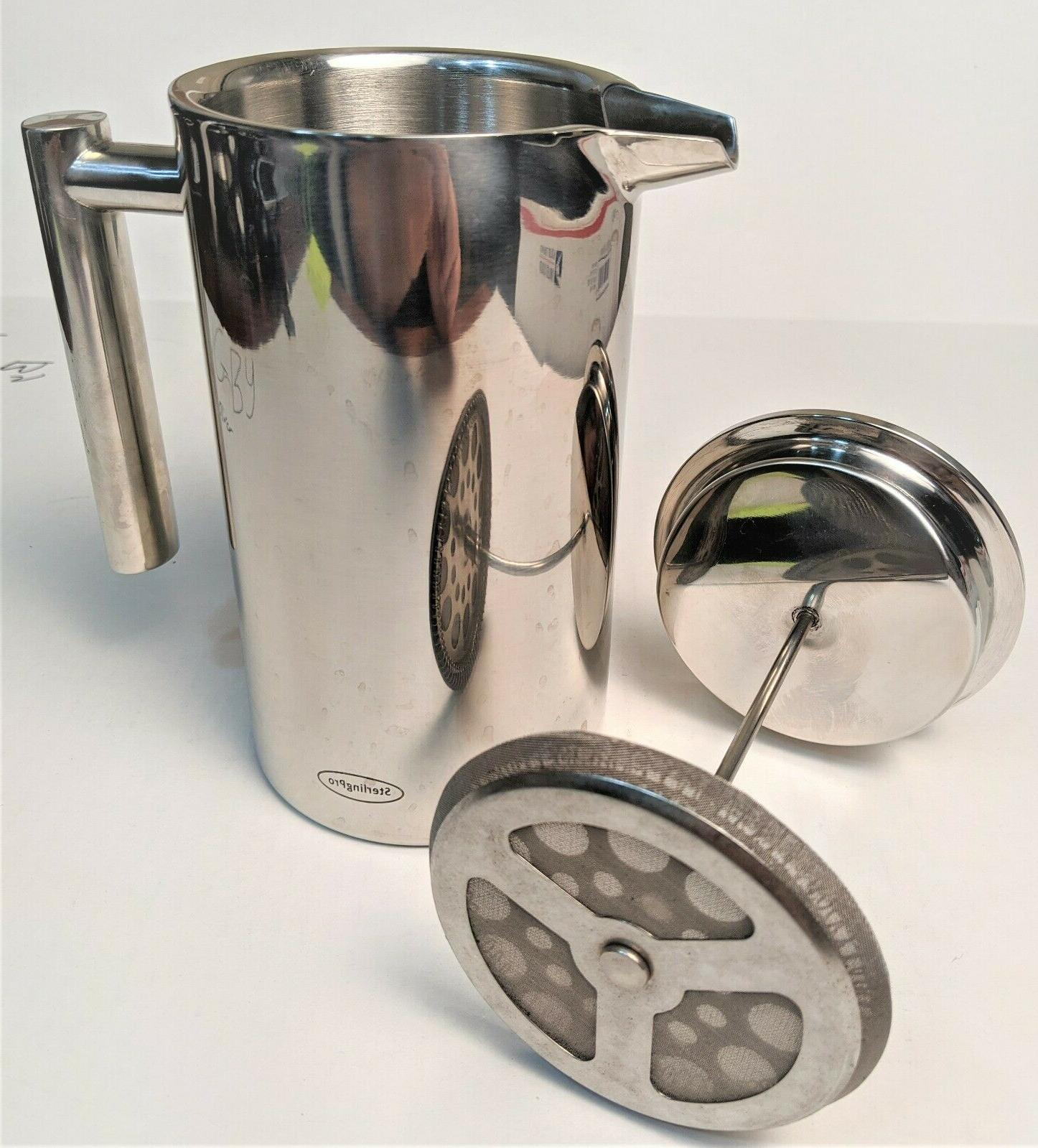 dbl wall stainless steel french coffee press
