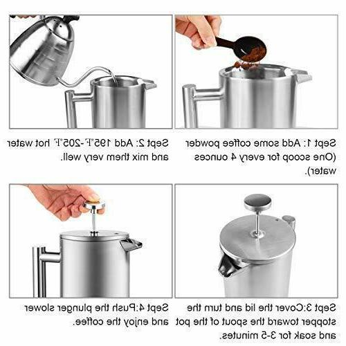 ENLOY French Maker Stainless Coffee Tea