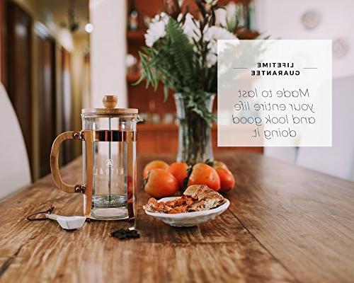 Ritual French Coffee Press, Bamboo Borosilicate and Copper Frame, Filter 36oz/1000ml