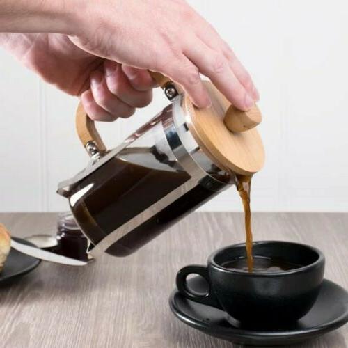 RITUAL FRENCH COFFEE BAMBOO WOOD STAINLESS BOROSILICATE GLASS