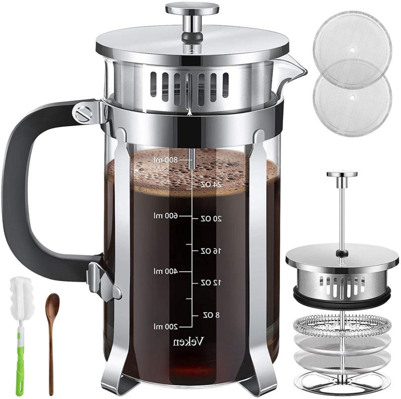 french press coffee and tea maker complete