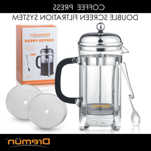 French Press Maker 34 Double Filtration, Bonus Spoon Filters