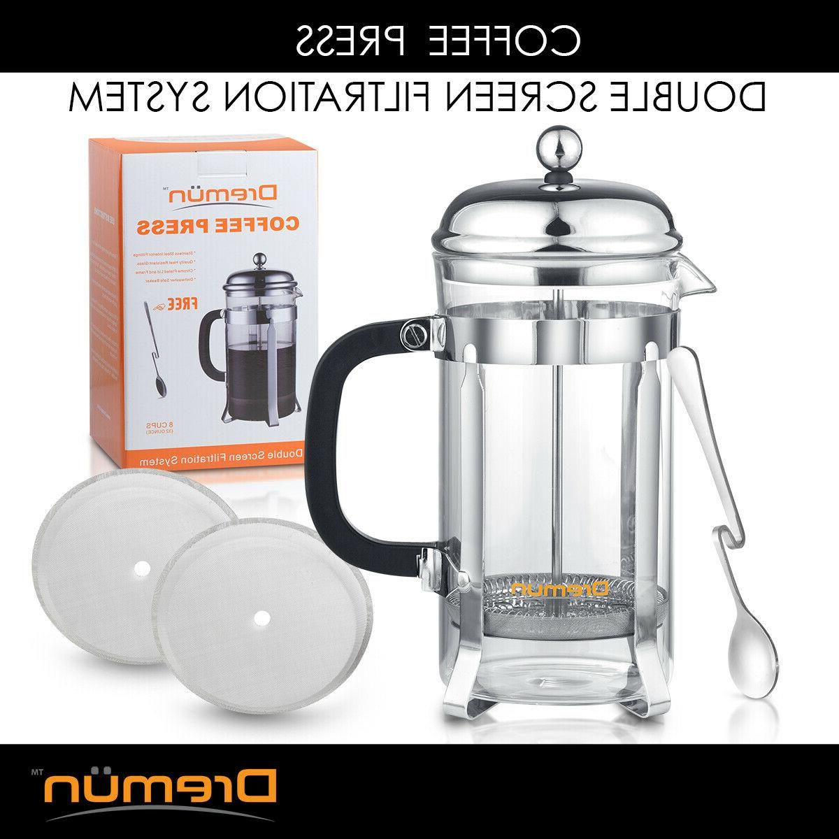 french press coffee maker 34 oz double
