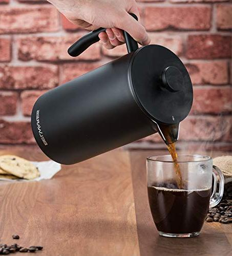 Belwares Large French Coffee Extra Filters and Fuller Coffee Designed with Wall Black Steel Preserve Hot Temperature