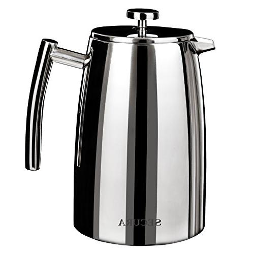 Secura Press Coffee 50-Ounce, Stainless Steel 18/10 Stainless