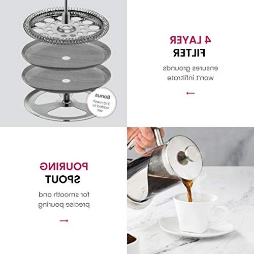 French Press - Steel, 34 Ounce Heat Beaker, Filtered European Style Coffee Press Spoon, Measuring Scoop Filter