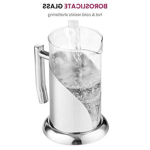 French Press Coffee Maker - 34 Heat Resistant Beaker, Filtered Press Measuring Scoop Filter