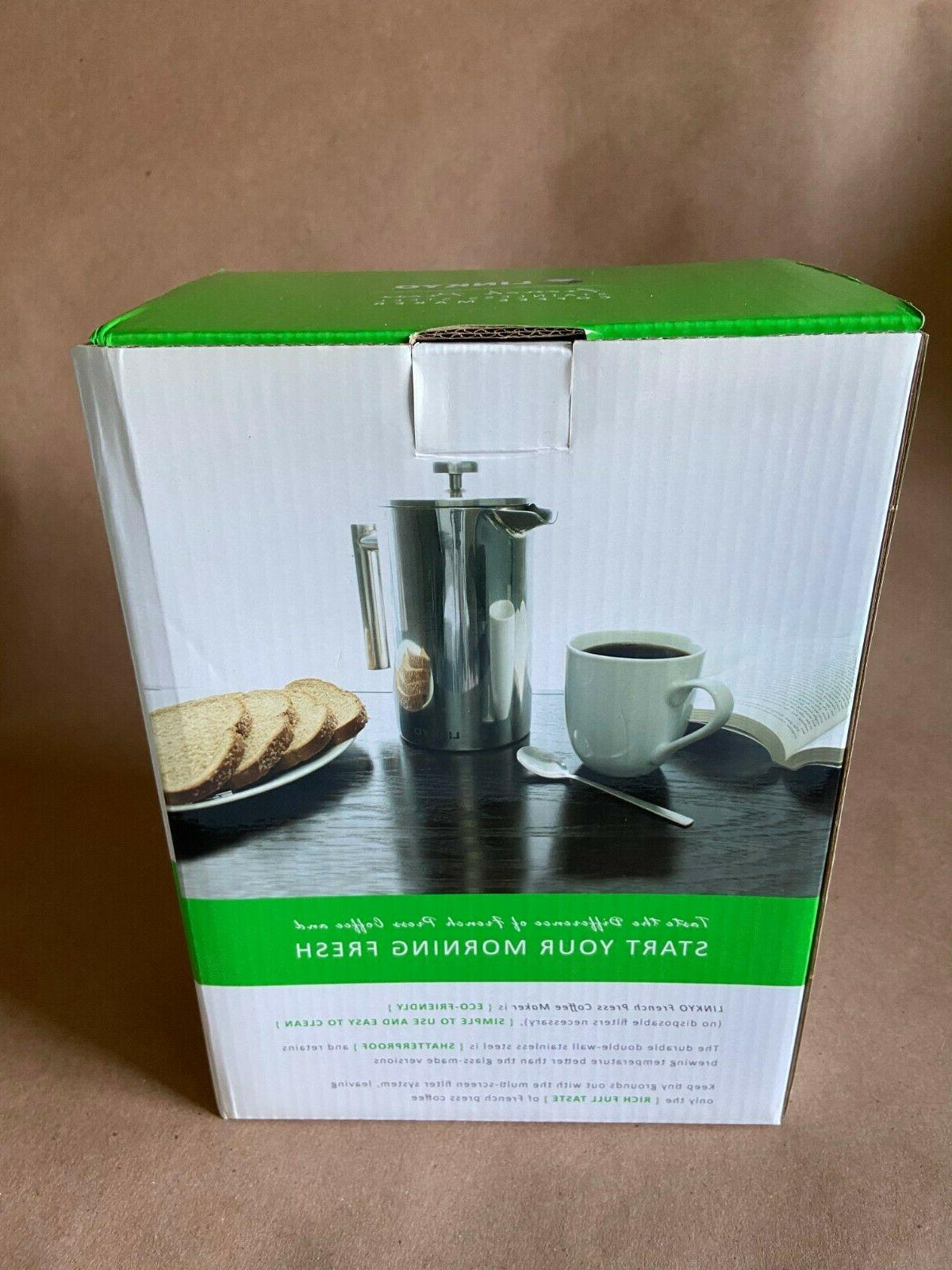 LINKYO French Press Maker Insulated Coffee Press 34oz