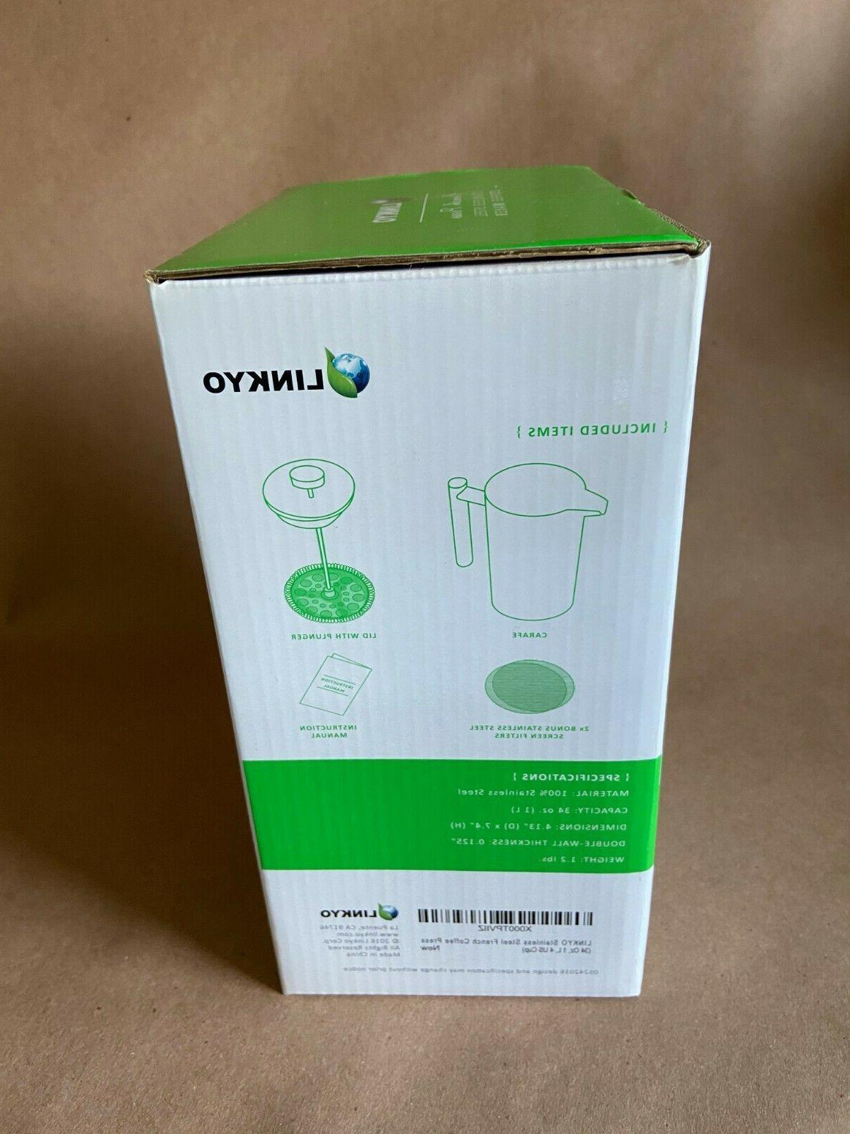 LINKYO Maker Insulated Stainless Steel Coffee Press 34oz 1Lt