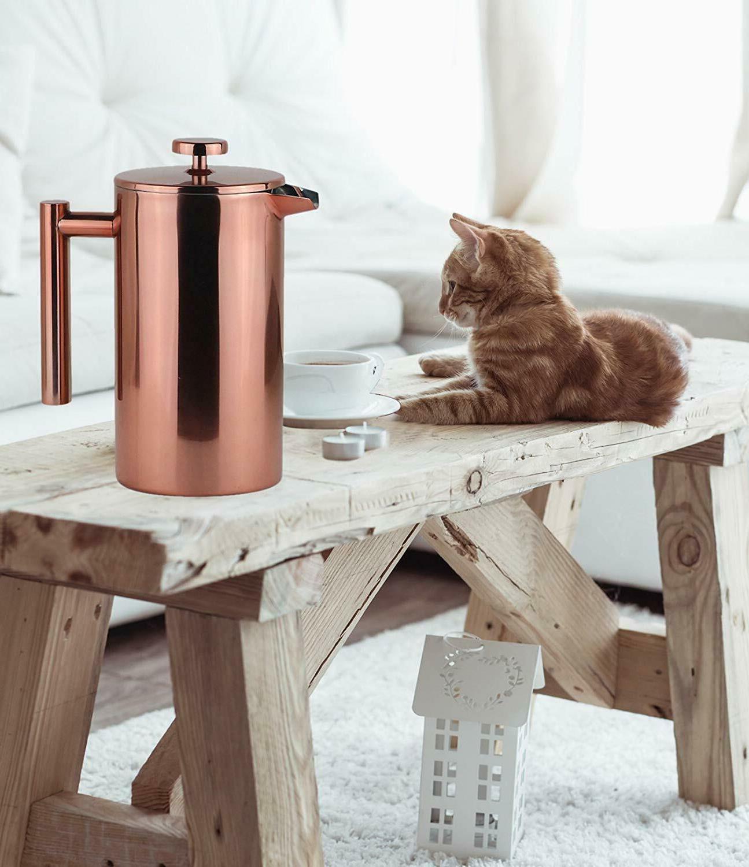 French Press Coffee Leaf Steel Filter Pot