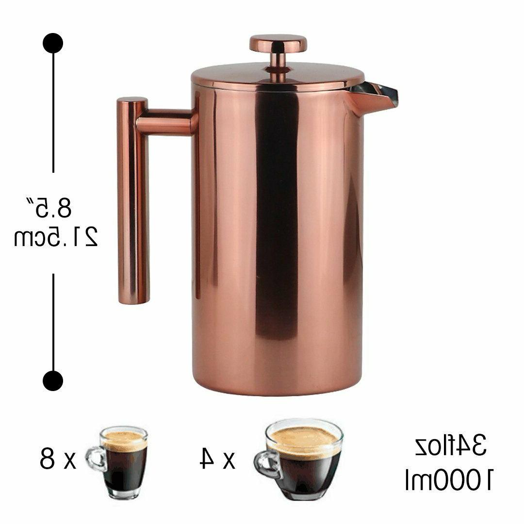 French Coffee Leaf Carafe Stainless Steel Filter Kettle Pot