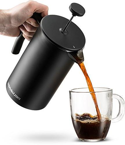 Belwares Large Press Coffee Maker Filters a and Coffee Flavor, Designed Black Stainless Steel Preserve Temperature