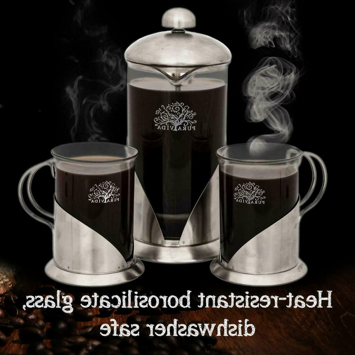 Pura French Press Coffee Ounce + Mugsl Filtration