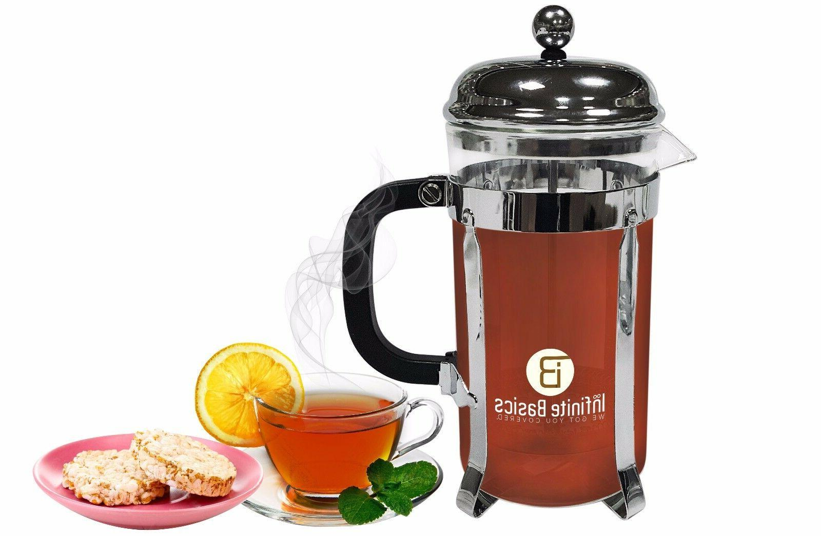 French Press 34oz Tea Coffee 2 Bonus Total Filters