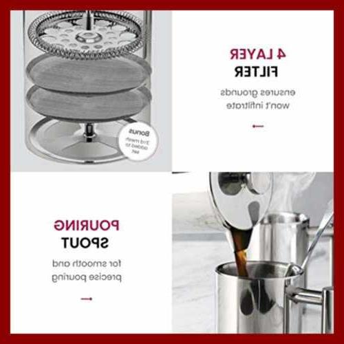 French Press Coffee Set PC Stainless Mirror Piece