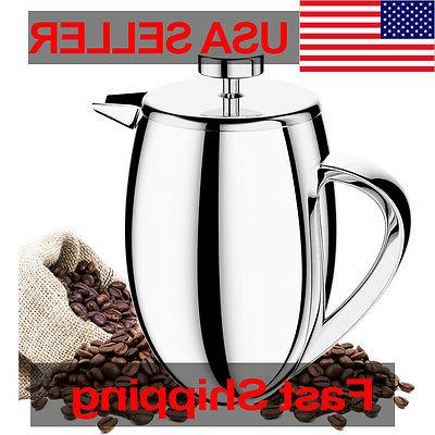 34oz French Press Coffee Maker Stainless Wall Brushed