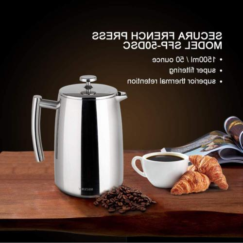 French Press Coffee Stainless Steel 50 Ounce new
