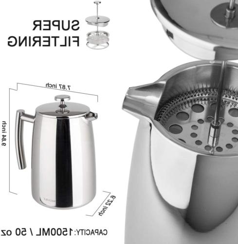 French Press Coffee Maker Stainless Steel 50 Ounce High new