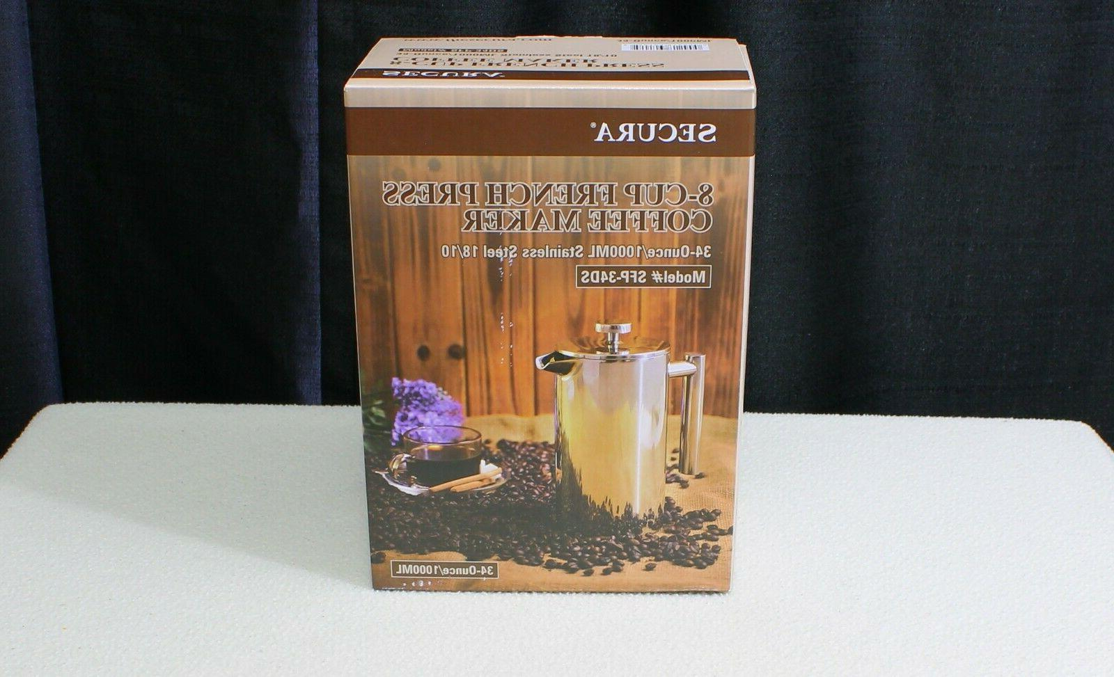 french press coffee maker stainless steel 34