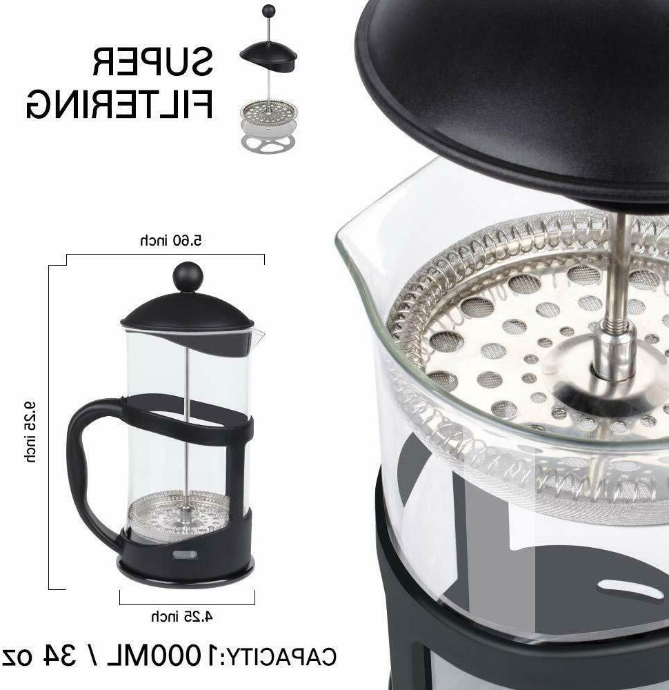 French Press Coffee Stainless Steel 34oz Filter Glass