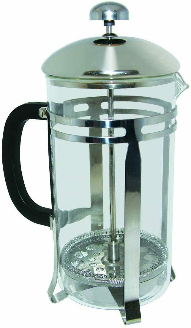 French Press Coffee Maker Tea Pot Plunger Glass Stainless St
