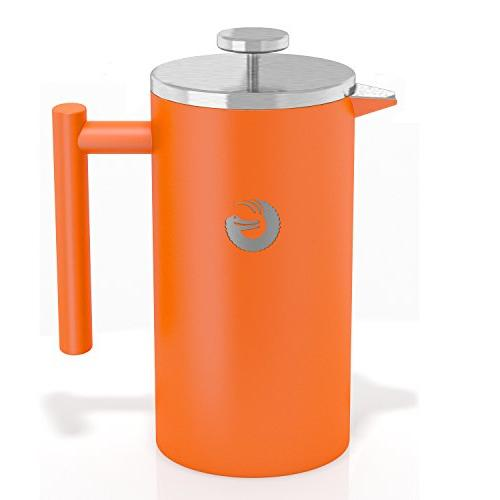 Large French Coffee Maker – Stainless Steel, Orange, 34 Ounce