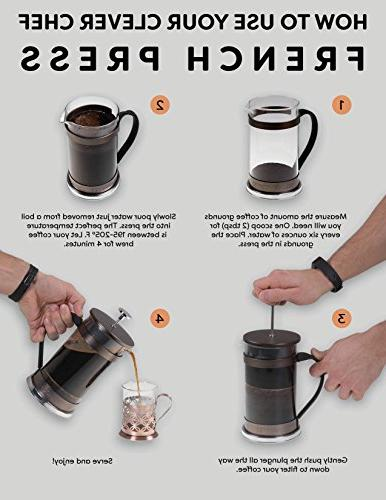 Coffee Maker by Clever Chef | Press Perfect for Coffee Coffee With Superior Filtration 2 Capacity