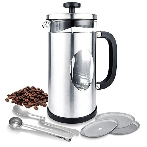 french press stainless steel mug