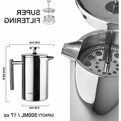 Secura French Presses SFP-17DS Stainless Coffee Maker 18/10 Bonus