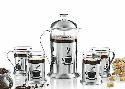 Gourmia Press Coffee Maker Brewer Set Cups