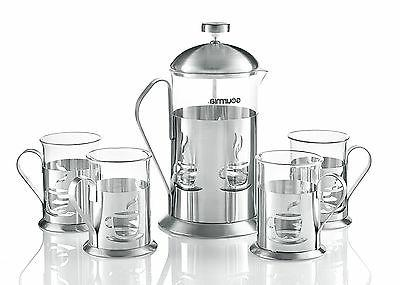 Gourmia GCM9845 Decorative Press Coffee Maker Brewer Set Cups