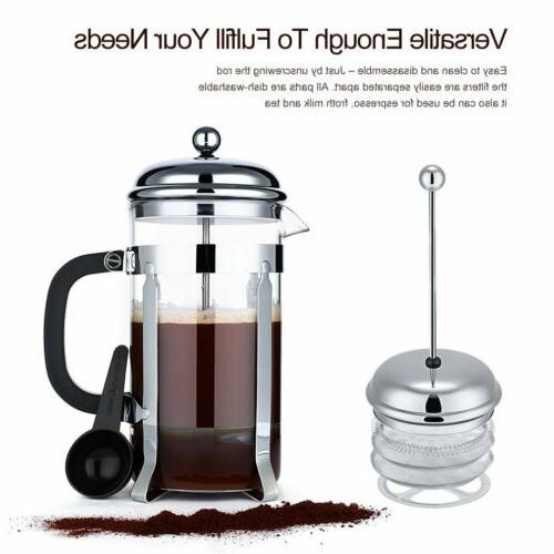 ICOCO Glass Coffee/Tea French Press - Stainless Steel 8 Cup