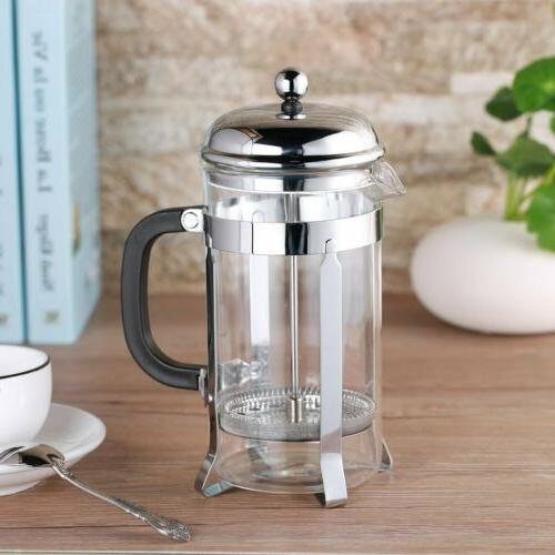 glass coffee tea french press stainless steel