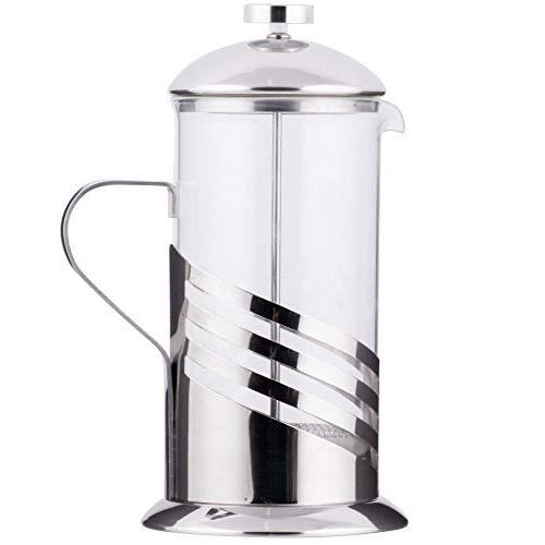 glass silver french coffee press