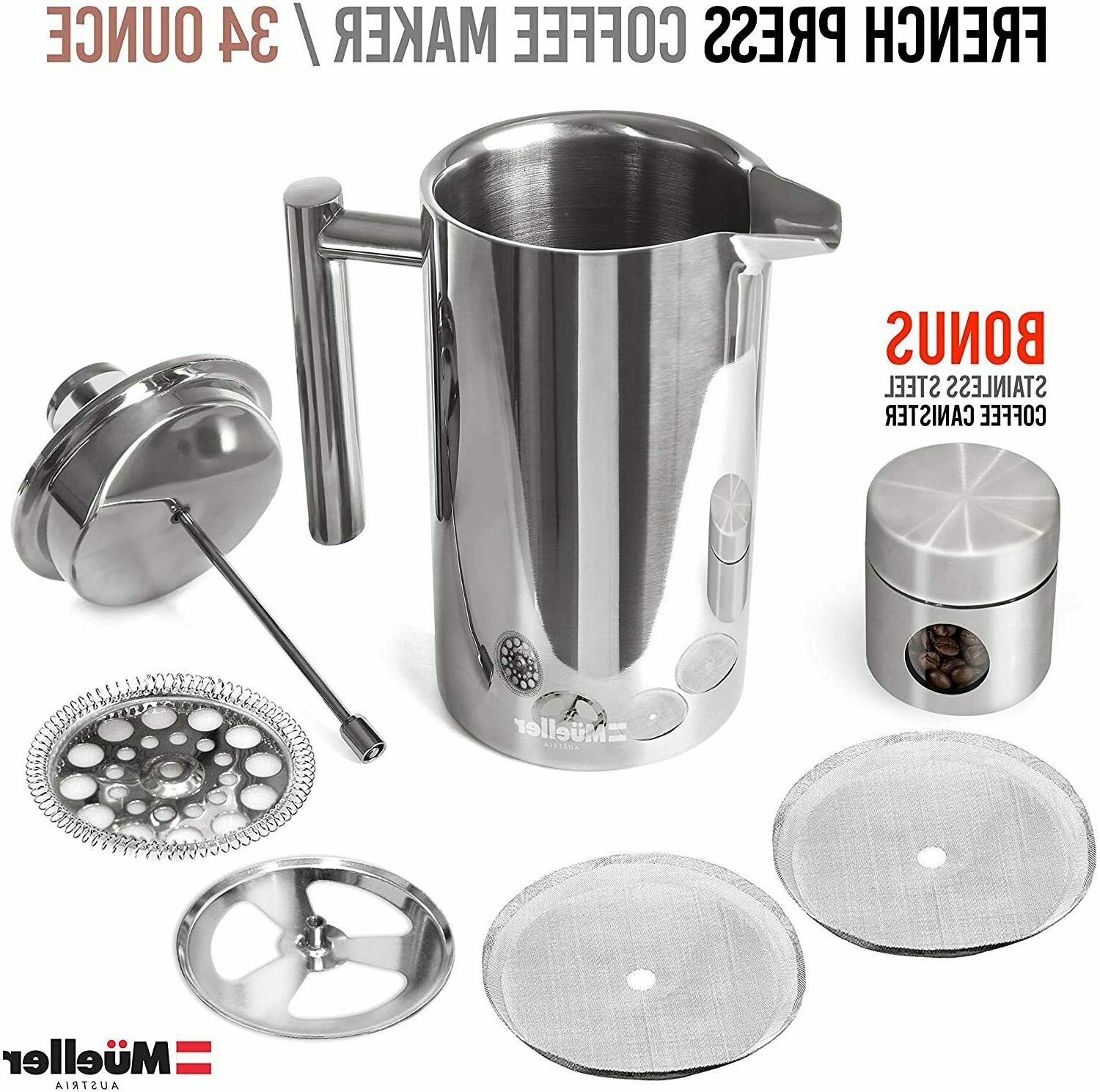 Mueller French Insulated Stainless Coffee Maker 4 Level