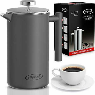 new french press coffee maker double walled