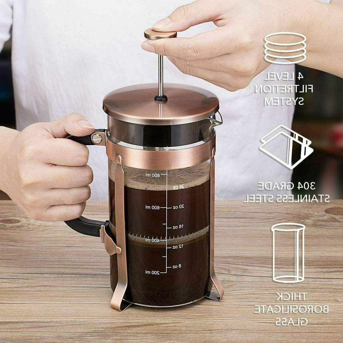 *NEW* French Coffee Maker Glass Steel Large 34oz