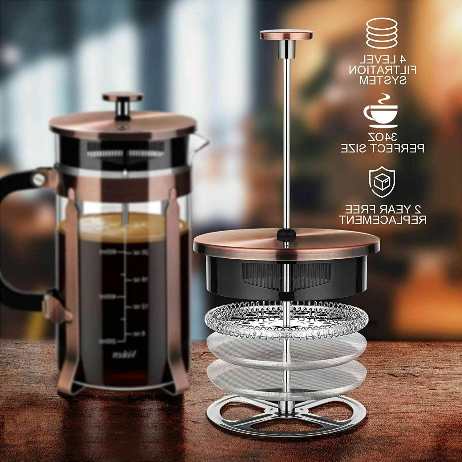 new french press coffee maker glass stainless