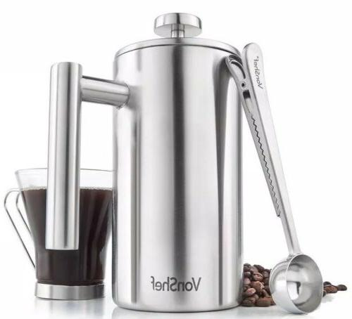 New Vonshef Brush Stainless French Press Double Coffee