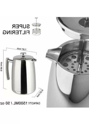 Secura Coffee Maker, 50-Ounce, Stainless 18/10