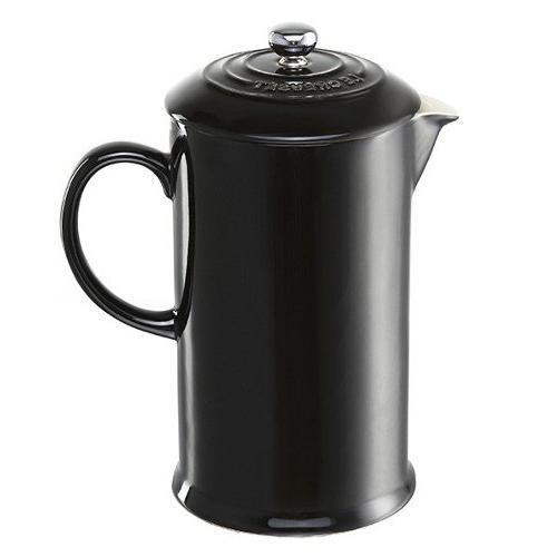 shiny black stoneware french press