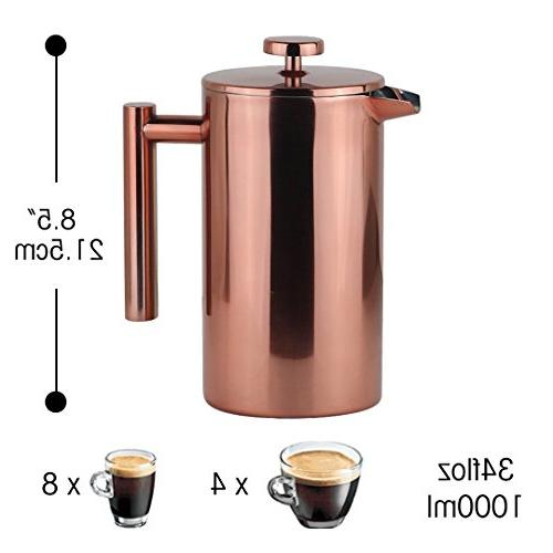 LA JOLIE MUSE Press Maker Double Walled Insulated Stainless Steel Coffee Pot Copper Bonus Screen Filters, OZ/8 Cup Cafeteria