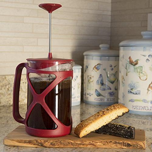 Primula Tempo Coffee Press – For Rich, Coffee Design Use – Cups – Red