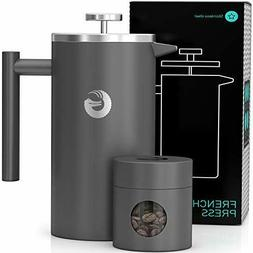 Large French Press Coffee Maker - Vacuum Insulated Stainless