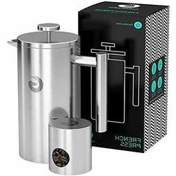 Large French Presses Coffee Maker - Vacuum Insulated Stainle