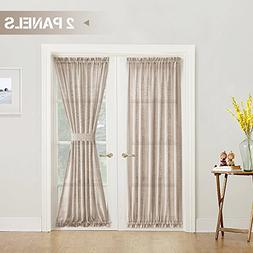 Linen Textured French Door Curtains Solid 2 Panels French Do