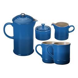 Le Creuset Marseille Blue Stoneware 5 Piece Coffee Service S