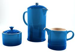 Le Creuset Marseille Blue Stoneware French Press Coffee Make