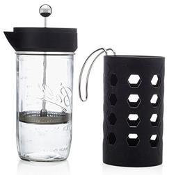 Mason Jar French Press | 6 cup  | Tea & Coffee Maker | Black
