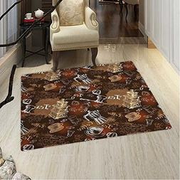 Modern Small Rug Carpet Coffee Culture Theme Italian Espress